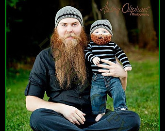 dad and baby beard beenie