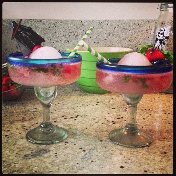 Virgin Strawberry Basil Mojitos -
