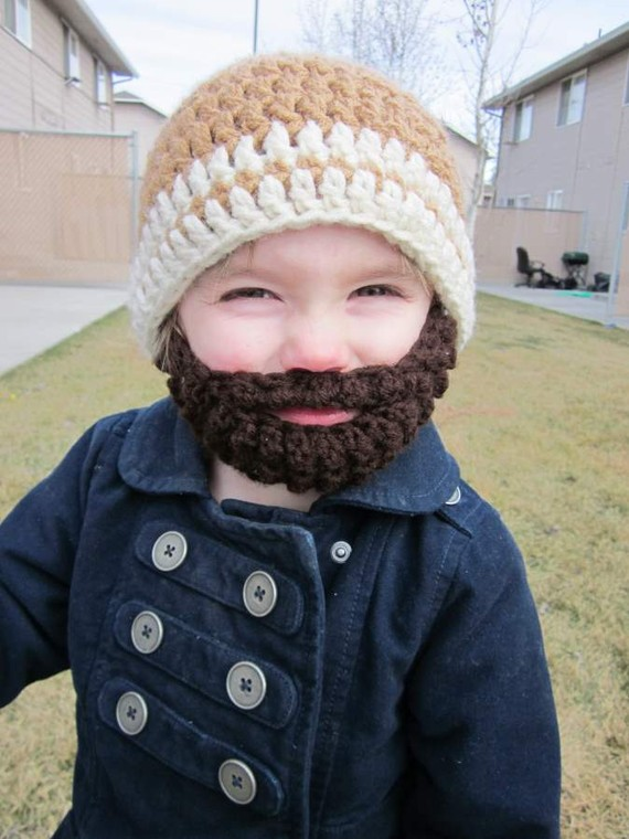 Childs Knit Hat With Beard Youtube